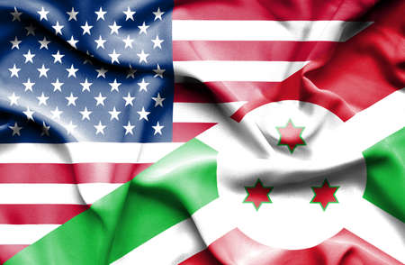 burundi: Waving flag of Burundi and USA