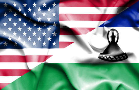 lesotho: Waving flag of Lesotho and USA Stock Photo
