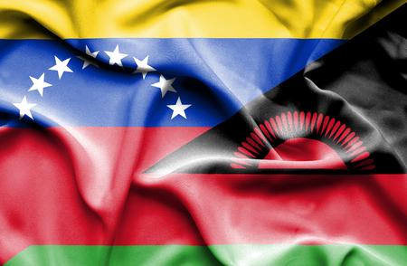 malawian flag: Waving flag of Malawi and Venezuela