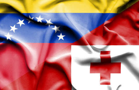 venezuela: Waving flag of Tonga and Venezuela