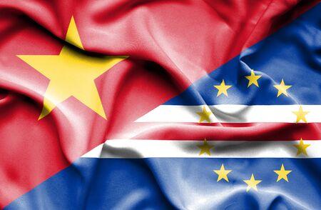 vietnam war: Waving flag of Cape Verde and Vietnam Stock Photo