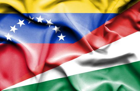 seychelles: Waving flag of Seychelles and Venezuela