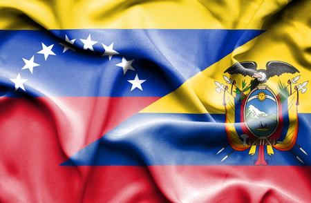 ecuador: Waving flag of Ecuador and Venezuela Stock Photo