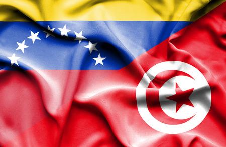 tunisia: Waving flag of Tunisia and Venezuela