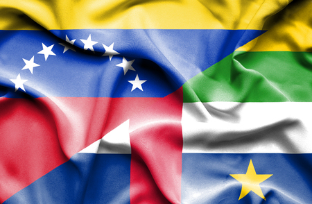 central african republic: Waving flag of Central African Republic and Venezuela