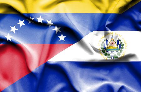 el salvador: Waving flag of El Salvador and Venezuela Stock Photo