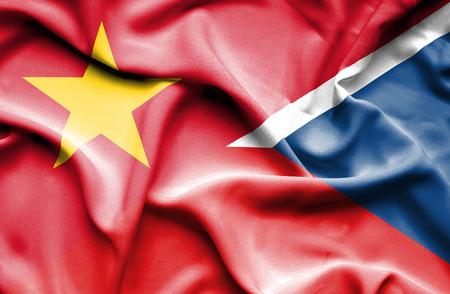 the czech republic: Waving flag of Czech Republic and Vietnam