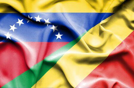 Congo: Waving flag of Congo Republic and Venezuela