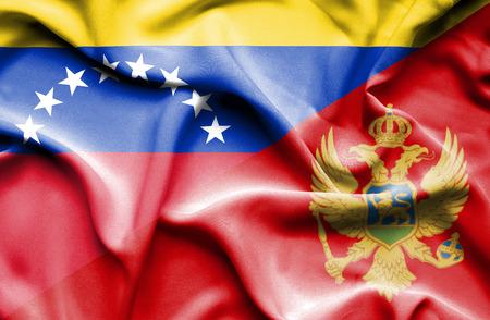 montenegro: Waving flag of Montenegro and Venezuela
