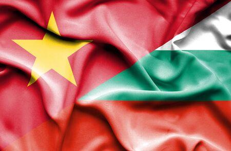 vietnam war: Waving flag of Bulgaria and Vietnam