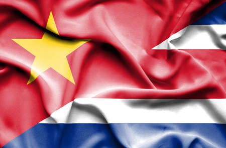 costa rica: Waving flag of Costa Rica and Vietnam