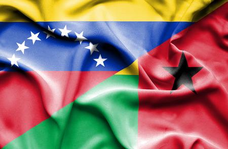 guinea bissau: Waving flag of Guinea Bissau and Venezuela