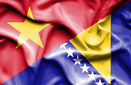 bosnian: Waving flag of Bosnia and Herzegovina and Vietnam
