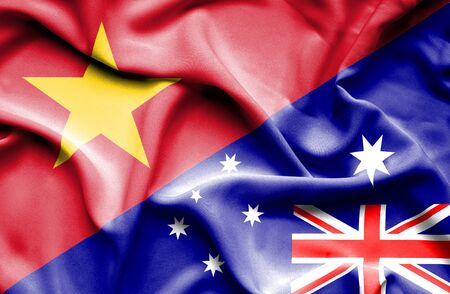 vietnam war: Waving flag of Australia and Vietnam Stock Photo