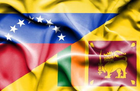 sri lanka: Waving flag of Sri Lanka and Venezuela Stock Photo