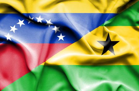 principe: Ondeando la bandera de Santo Tomé y Príncipe y Venezuela