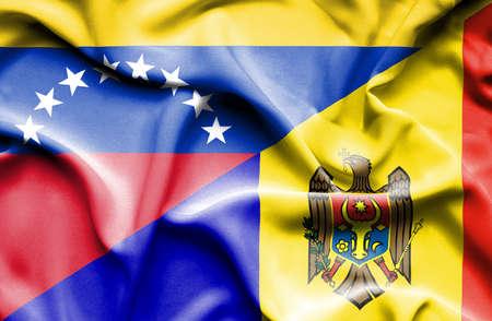 moldavia: Waving flag of Moldavia and Venezuela