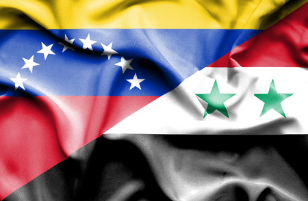 venezuela: Waving flag of Syria and Venezuela