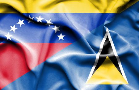st lucia: Waving flag of St Lucia and Venezuela