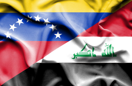 iraq conflict: Waving flag of Iraq and Venezuela