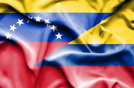 columbia: Waving flag of Columbia and Venezuela
