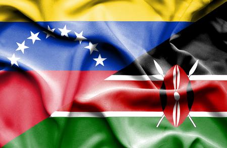 kenya: Waving flag of Kenya and Venezuela