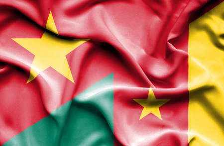 cameroon: Waving flag of Cameroon and Vietnam Stock Photo