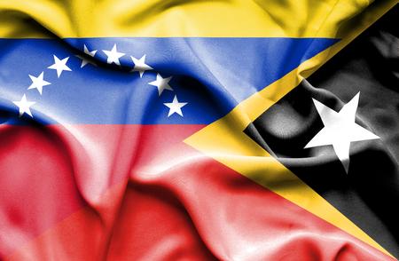 east: Waving flag of East Timor and Venezuela