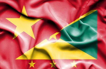 guernsey: Waving flag of Guernsey and Vietnam