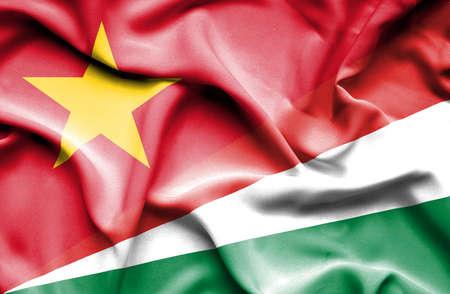 vietnam war: Waving flag of Seychelles and Vietnam