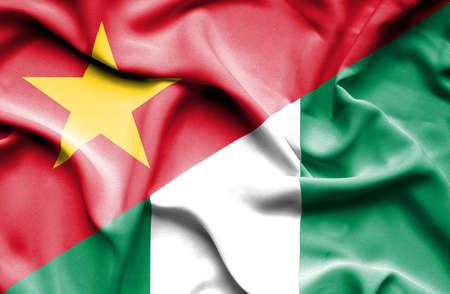 vietnam war: Waving flag of Nigeria and Vietnam Stock Photo
