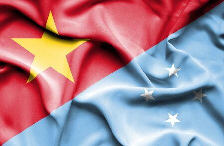 micronesia: Waving flag of Micronesia and Vietnam