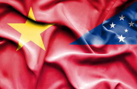samoa: Waving flag of Samoa and Vietnam Stock Photo
