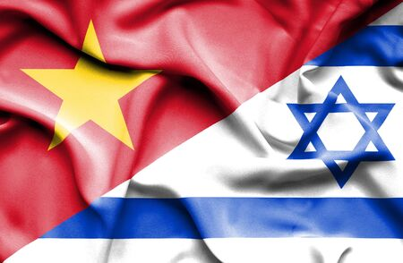 vietnam war: Waving flag of Israel and Vietnam