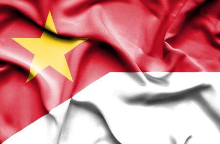 vietnam war: Waving flag of Indonesia and Vietnam Stock Photo