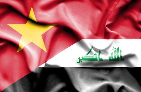 iraq war: Waving flag of Iraq and Vietnam