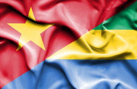 gabon: Waving flag of Gabon and Vietnam