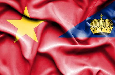 lichtenstein: Waving flag of Lichtenstein and Vietnam Stock Photo