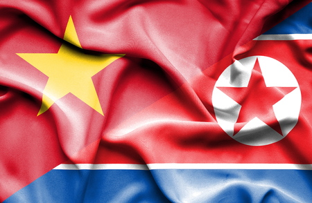 north korea: Waving flag of North Korea and Vietnam