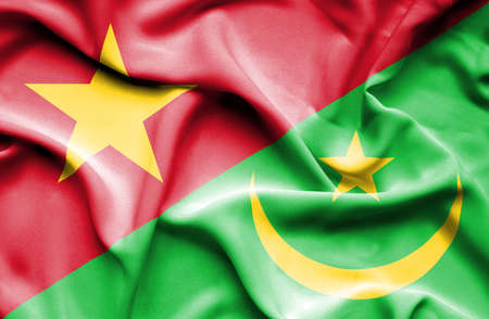 mauritania: Waving flag of Mauritania and Vietnam
