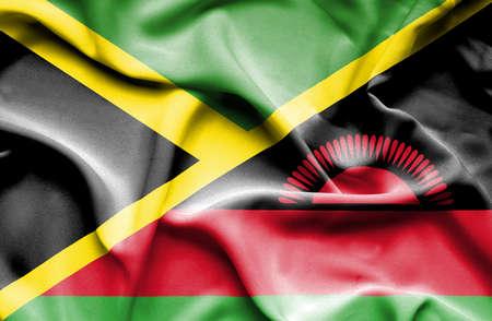 malawian flag: Waving flag of Malawi and Jamaica Stock Photo