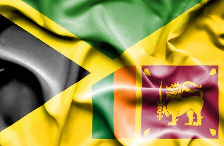 sri lankan flag: Waving flag of Sri Lanka and Jamaica