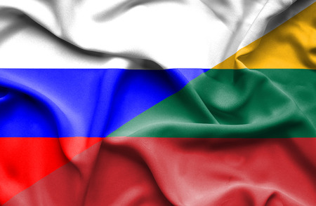 lithuania: Waving flag of Lithuania and Russia