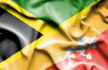 bhutan: Waving flag of Bhutan and Jamaica