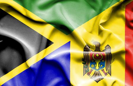 moldavia: Waving flag of Moldavia and Jamaica
