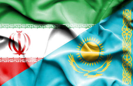 kazakhstan: Waving flag of Kazakhstan and Iran