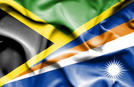 marshall: Waving flag of Marshall Islands and Jamaica