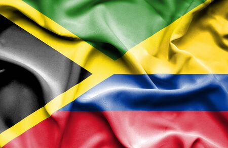 columbia: Waving flag of Columbia and Jamaica