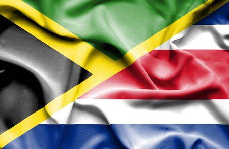 costa: Waving flag of Costa Rica and Jamaica
