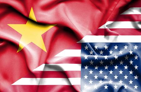 vietnam war: Waving flag of United States of America and Vietnam